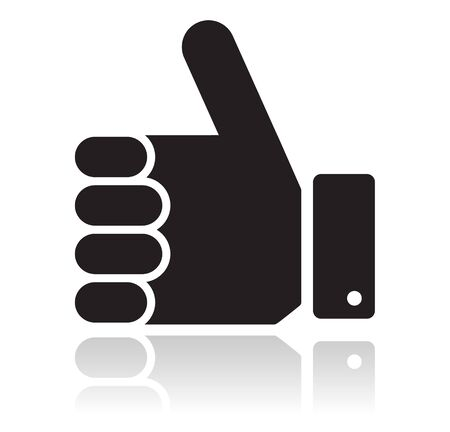 sign up icon: Thumb up black glossy icon Illustration