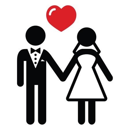 feleségül: Esküvői házaspár ikon Illusztráció