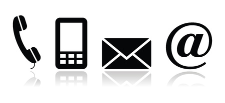 web mail: Contact black icons set - mobile, phone, email, envelope