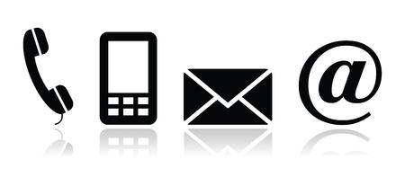 contact icon: Contact opnemen met zwarte pictogrammen set - mobiele, telefoon, e-mail, envelop