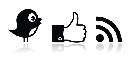 Twitter, Facebook, RSS black glossy icons set Vector