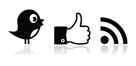 tweet icon: Twitter, Facebook, RSS iconos negros brillantes fijados