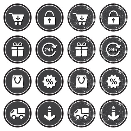 Shopping on internet retro badges - grunge style Stock Vector - 14797092