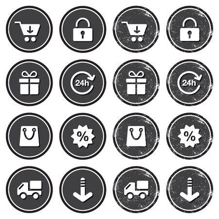 Shopping on internet retro badges - grunge style Stock Vector - 14797092