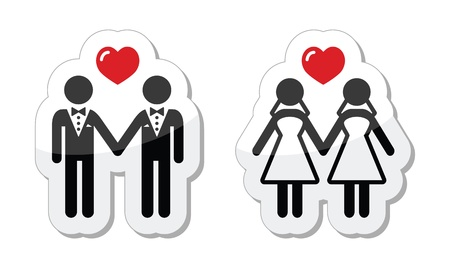 Gay marriage labels Illustration