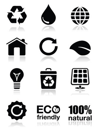 recycle bin: Green ecology icons set
