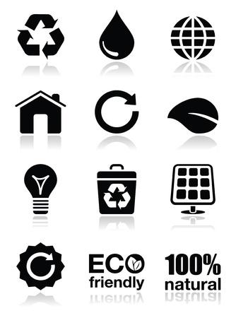 papelera de reciclaje: Los iconos verdes ecolog�a establece