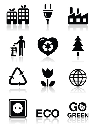 recycling bin: Green ecology icons set