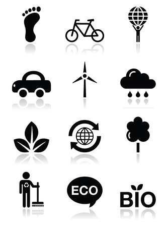 eco car: Green ecology black clean icons set