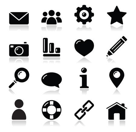 maison: Site web ic�nes du menu de navigation noires brillantes - � domicile, recherche, messagerie �lectronique, galerie, aide ic�nes de blog,
