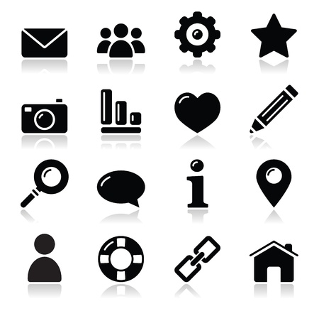 photo icons: Website menu navigation black shiny icons - home, search, email, gallery, help, blog icons