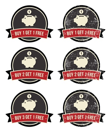 sales bank: Buy 1 Get 1 Free retro grunge badges set Illustration