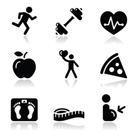 overweight kid: Health and fitness black clean icons set Illustration