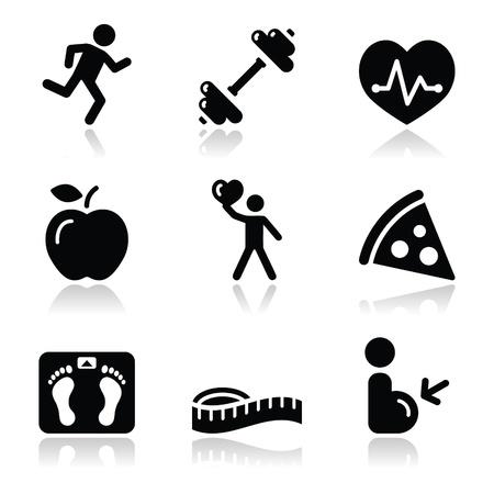 obesidad: Salud y estado f�sico iconos negros limpios establecer