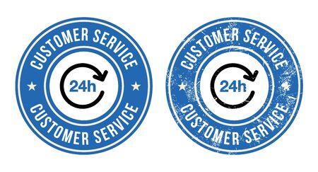 kunden service: 24h Service retro badges Illustration