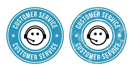 customer service phone: Customer service retro badges Illustration