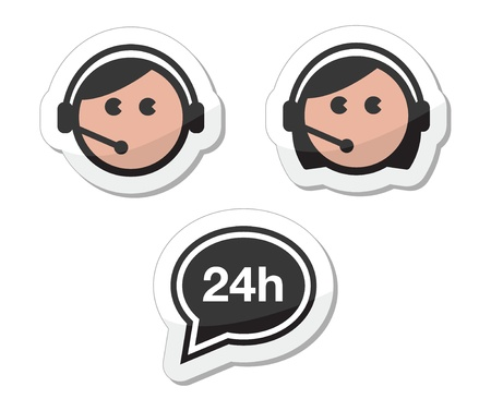 call center agent: Customer service icons set, labels - call center assistants Illustration