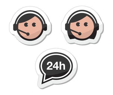 servicio al cliente: Iconos de servicio al cliente establecido, las etiquetas - llame a los asistentes del centro