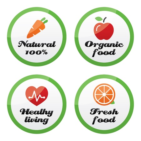 buy local: Organic food, fresh and natural products icons on green buttons Illustration