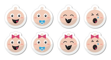 Baby boy, baby girl face - crying, with soother, smile icons Vector
