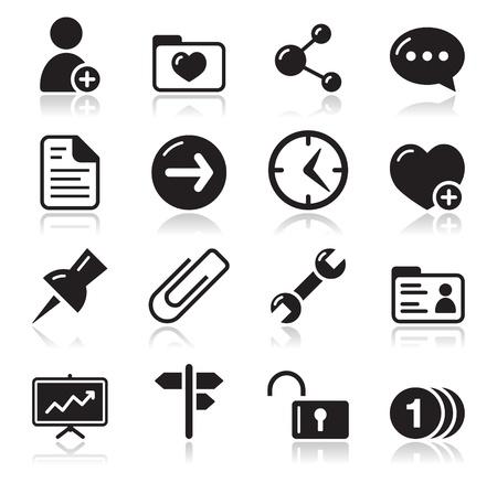 settings: Website navigatie icons set Stock Illustratie