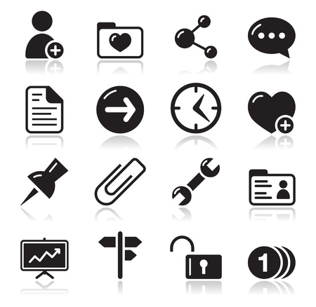 company profile: Website navigation icons set Illustration