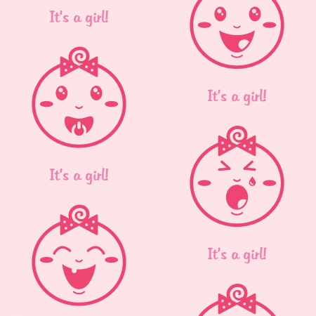 It s a girl pink seamless background with baby girls Vector
