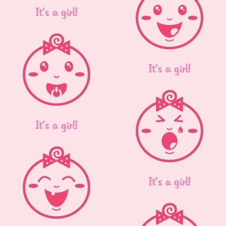 Se sa ni�a rosa de fondo sin fisuras con las muchachas del beb�