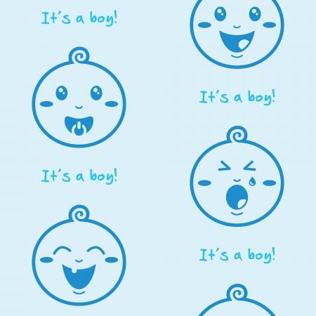 wenen: Het is een jongen, blauw, naadloze achtergrond met baby jongens Stock Illustratie