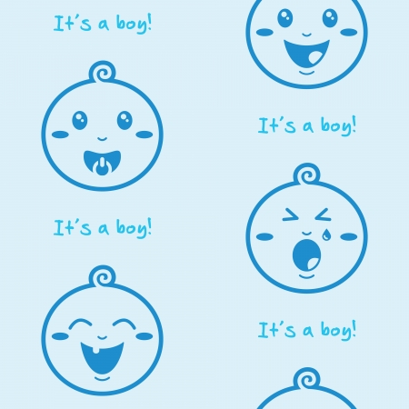 crying child: It s a boy blue seamless background with baby boys Illustration