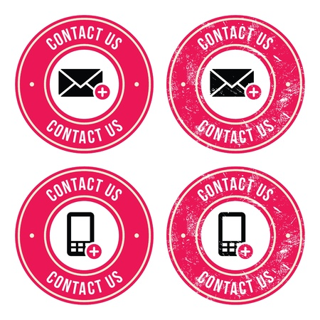 call me: Contact us retro old labels with phone, email icon Illustration