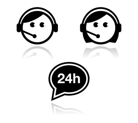 call center woman: El servicio al cliente iconos conjunto - los agentes del centro de llamadas