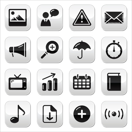 calendar icon: Website internet glossy sqaure buttons set Illustration