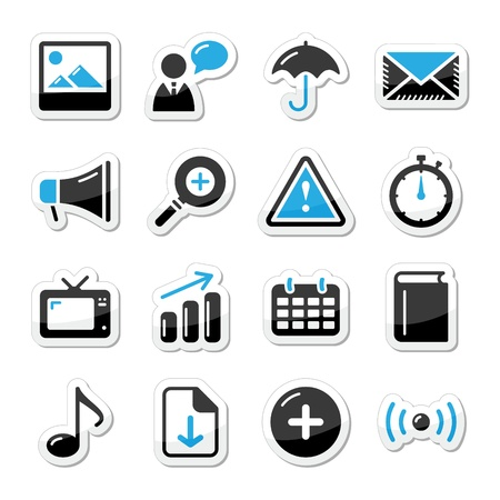 time icon: Internet website icons set styled as labels - mail, contact, about us, user Illustration