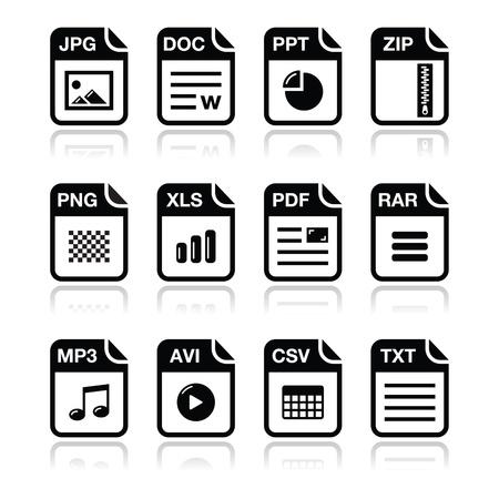 uitpakken: Bestandstype zwart pictogrammen met schaduw set - zip, pdf, jpg, doc
