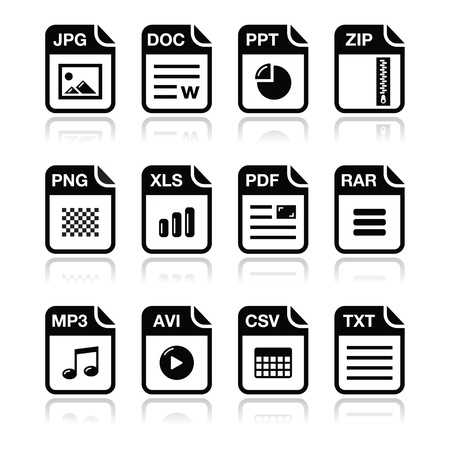 avi: File type black icons with shadow set - zip, pdf, jpg, doc