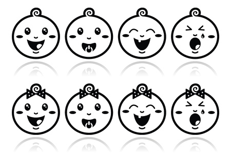 Baby boy, baby girl face - crying, with soother, smile black icons Vector