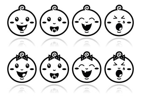bambino che piange: Baby boy, girl faccia da bambino - pianto, con succhietto, sorridere icone nere