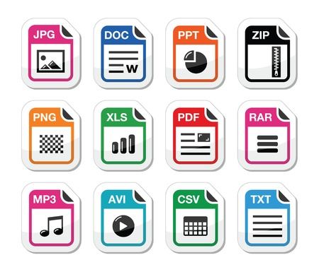 File type icons as labels set - zip, pdf, jpg, doc Vector