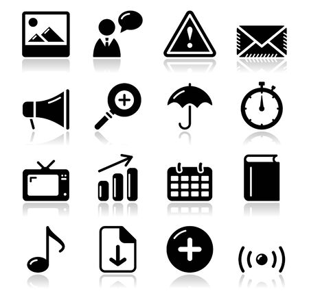 Website internet glossy sqaure icons set Stock Vector - 15030208
