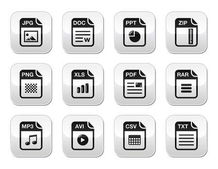 csv: File type black icons on modern grey buttons set
