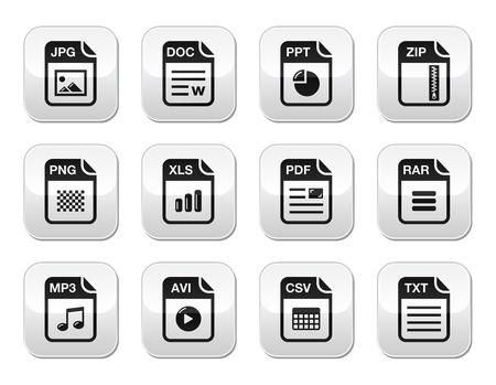 hoja de calculo: Iconos de tipo de archivo en blanco en los botones grises modernas establecer