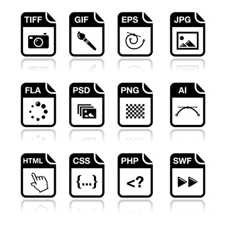 File type black icons - graphic and web design, web development Stock Vector - 15092732
