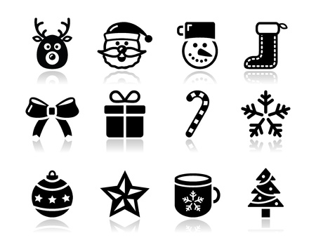 Christmas black icons with shadow set - santa, present, tree Vector