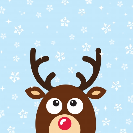 Reindeer Christmas Card with snow background Vector