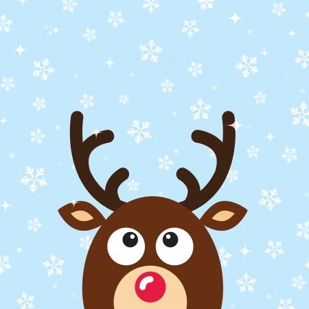 reindeer: Reno Tarjeta de Navidad con nieve de fondo Vectores