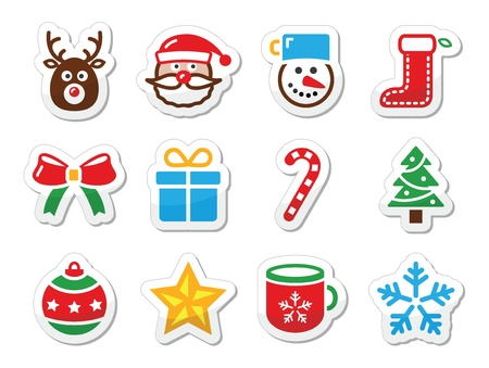 christmas snow: Christmas icons set as labels Illustration