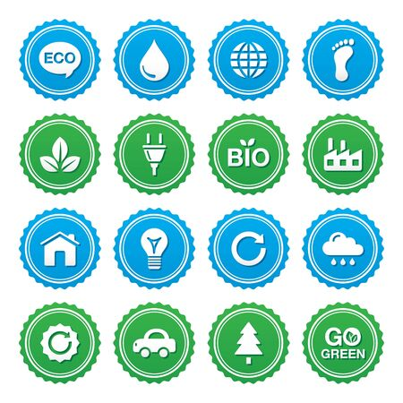 Eco green labels set - ecology, recyling, eco power concept Vector