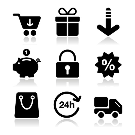 shops: Shopping on internet black icons set with shadow
