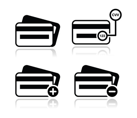 Credit Card, CVV code black icons set with shadow Vector